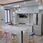 橱钢化玻璃铰链柜门定做晶钢门板定制整体厨房金刚门平方米晶钢门