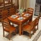 实木大理石餐桌椅户型6人小组合圆形伸缩折叠吃饭桌子家用4人8人