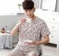 夏季短袖短裤 棉绸男士睡衣简约春秋圆领薄款绵绸男装家居服套装
